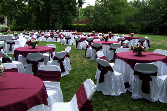 Settlemier House red tables for wedding